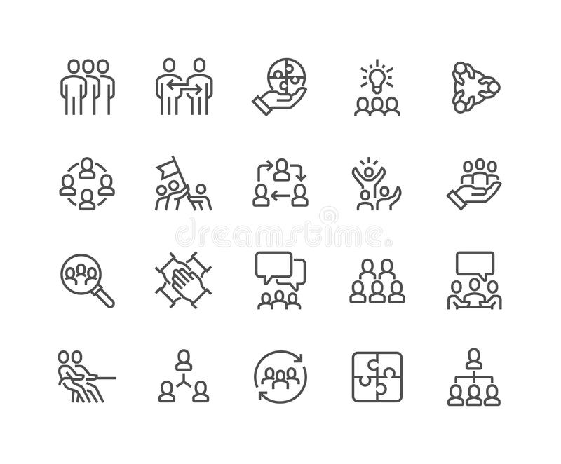 Lijn Team Work Icons royalty-vrije illustratie