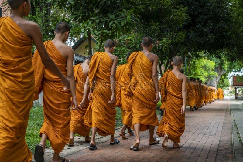 Lijn van beginnermonniken van Boeddhisme royalty-vrije stock fotografie