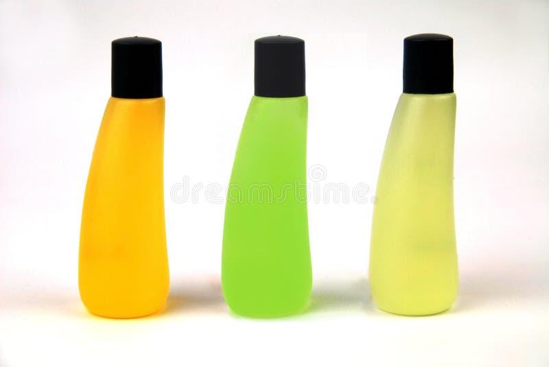 Lijn van drie flessen royalty-vrije stock afbeelding