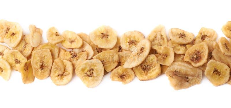 Lijn van droge banaanplakken die wordt gemaakt royalty-vrije stock afbeeldingen