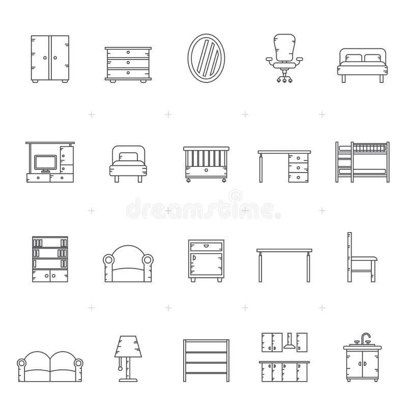 Lijn verschillend soort meubilairpictogrammen vector illustratie