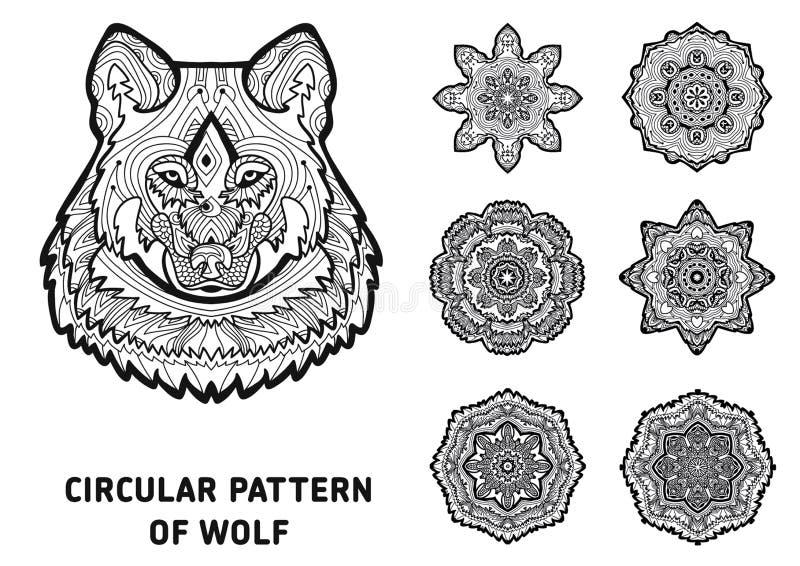 Lijnart. Element voor uw ontwerp Het hoofd van een wolf royalty-vrije illustratie