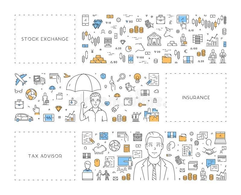 Lijnconcept voor belastingsraad, effectenbeurs en verzekering vector illustratie