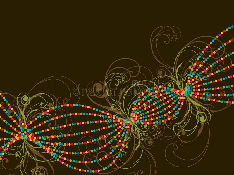 Lijnen en de wervelingen van de kleur de gestippelde vector illustratie