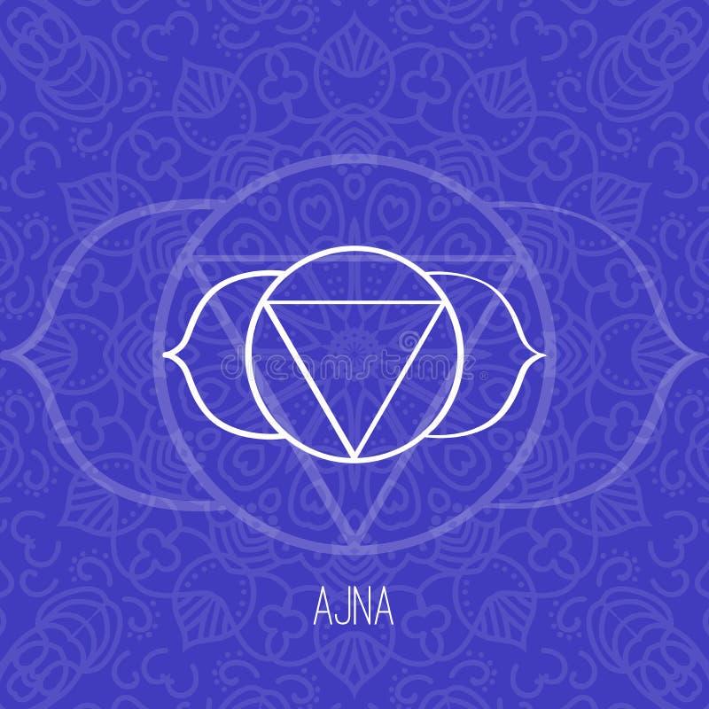 Lijnen geometrische illustratie van één van zeven chakras - Ajna op blauwe achtergrond, het symbool van Hindoeïsme, Boeddhisme vector illustratie