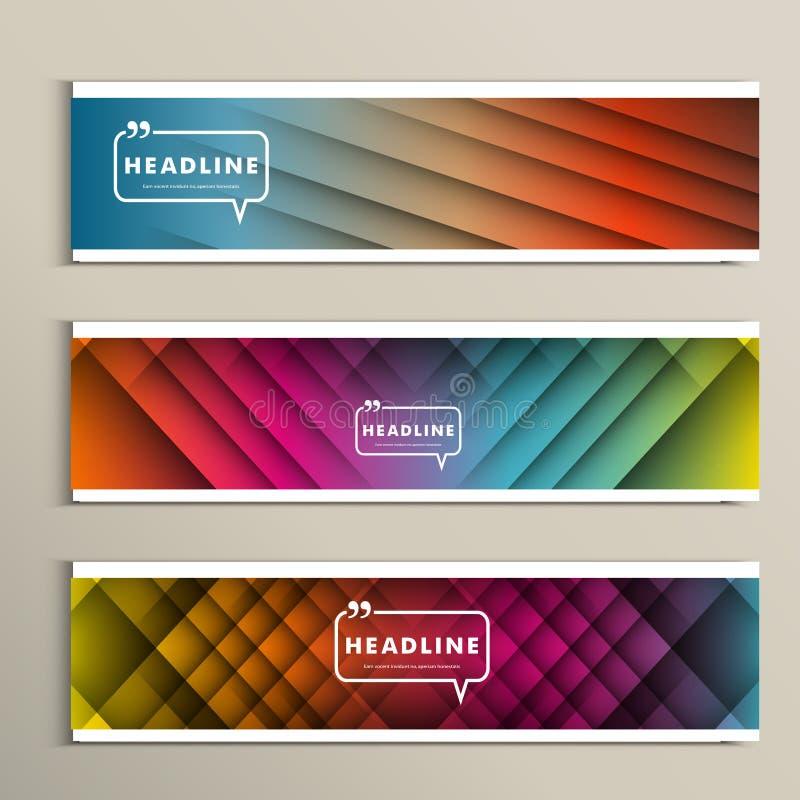 Lijnen op een gekleurde achtergrond Vastgestelde vectorbanners royalty-vrije illustratie