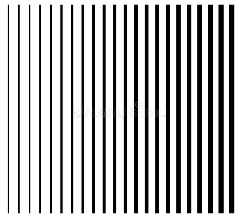 Lijnen van dun aan dik Reeks van rechte, parallelle verticaal 22 stock illustratie