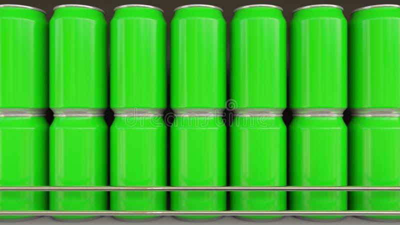 Lijnen van groene blikken bij kruidenierswinkelopslag Sprankelend dranken of bier op supermarktplank Moderne recycling verpakking royalty-vrije illustratie