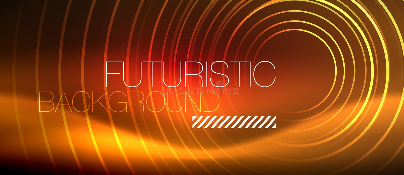 Lijnen van neon de gloeiende techno, hi-tech futuristisch abstract malplaatje als achtergrond met vierkante vormen stock illustratie