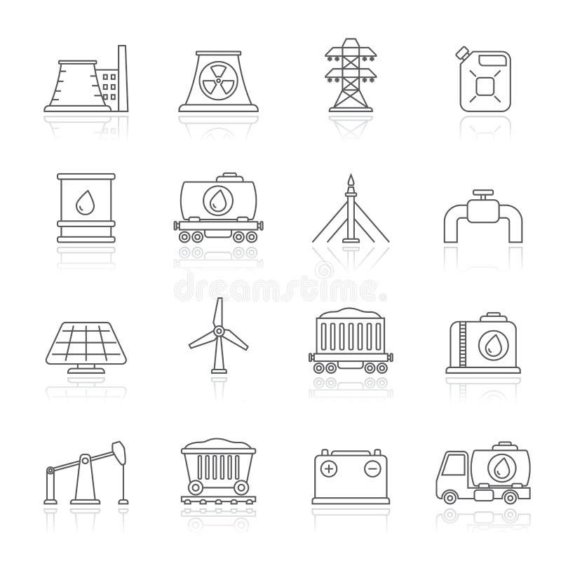 Lijnenergiebron en fossiele brandstof de industriepictogrammen stock foto's