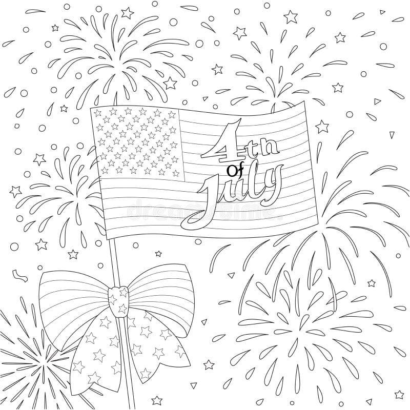 Lijnenontwerp van Amerikaanse vlag met vuurwerk, gelukkige 4 van Juli voor ontwerpelement en kleurende boekpagina Vector royalty-vrije illustratie