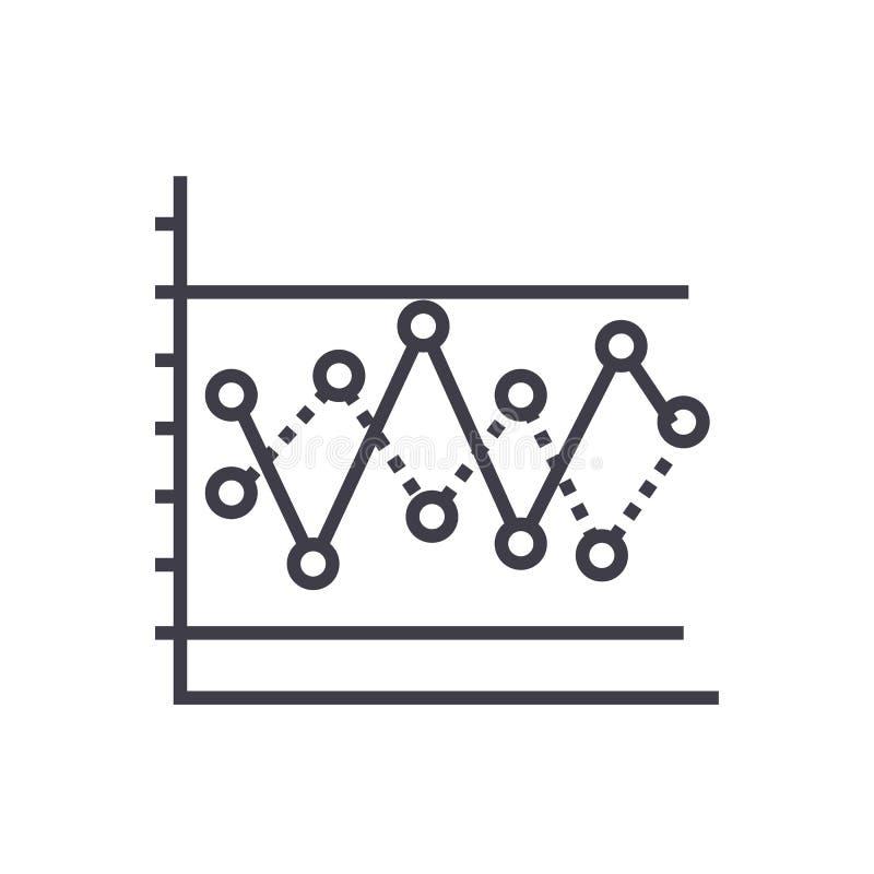 Lijngrafiek met pictogram van de punten het vectorlijn, teken, illustratie op achtergrond, editable slagen royalty-vrije illustratie