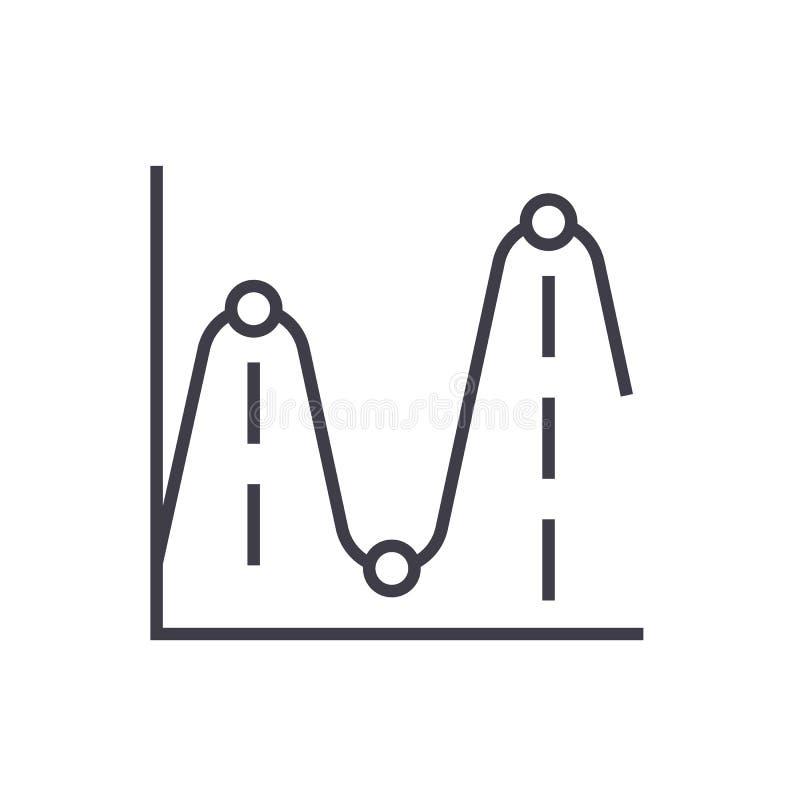Lijngrafieken, vector de lijnpictogram van frequentiegrafieken, teken, illustratie op achtergrond, editable slagen royalty-vrije illustratie