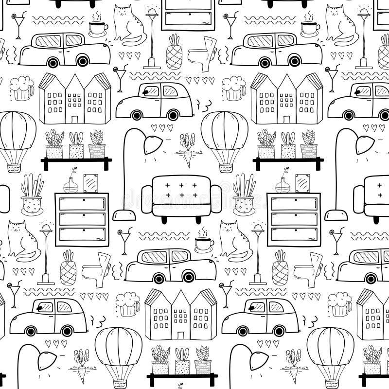 Lijnhand Getrokken Krabbel het Leven Patroonachtergrond stock illustratie