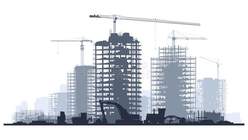 Lijnillustratie van bouwwerf met kraan en de bouw vector illustratie