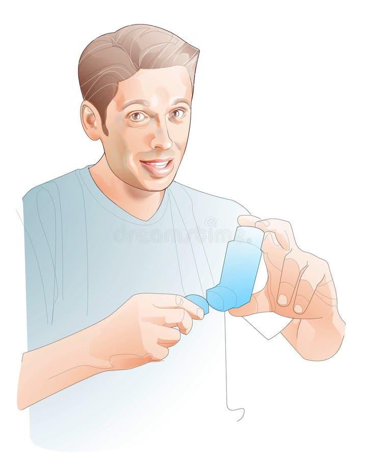 Lijnillustratie van de jonge mens met een inhaleertoestel met een medicijn stock illustratie