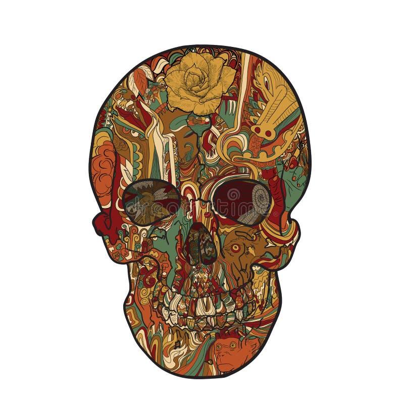 Lijnkunst en tatoegering van schedel royalty-vrije illustratie