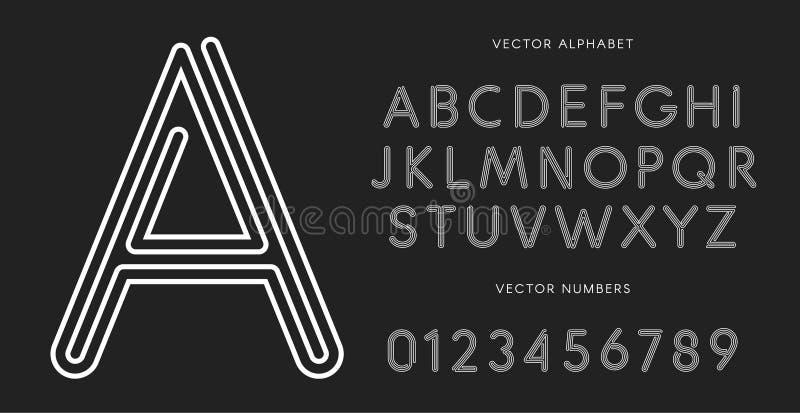 Lijnletters en getallen op zwarte achtergrond worden geplaatst die Zwart-wit vector Latijns alfabet Het rijgen van witte doopvont royalty-vrije illustratie