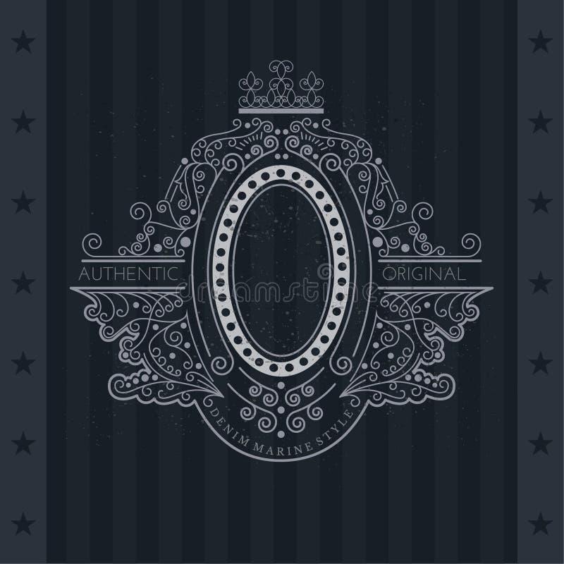 Lijnpatroon met Ovaal Kader in centrum Uitstekend etiket royalty-vrije illustratie