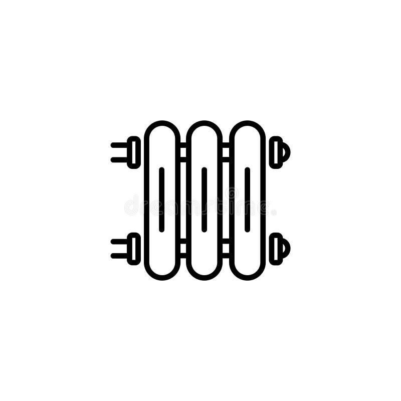 Lijnpictogram Radiator, Gietijzerradiator voor verwarmingssystemen vector illustratie