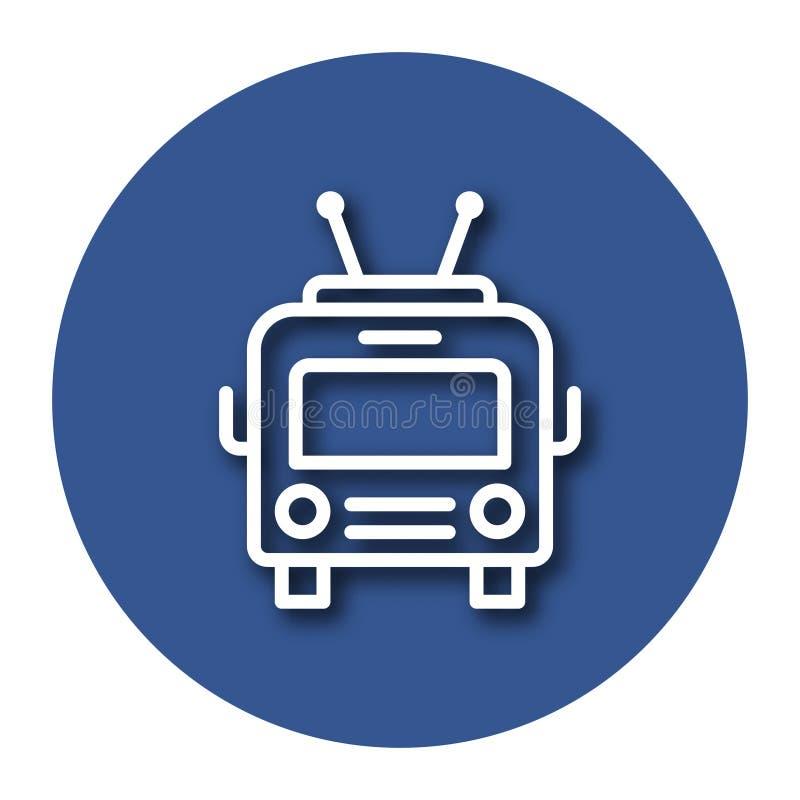 Lijnpictogram van trolleybus met schaduw stock illustratie