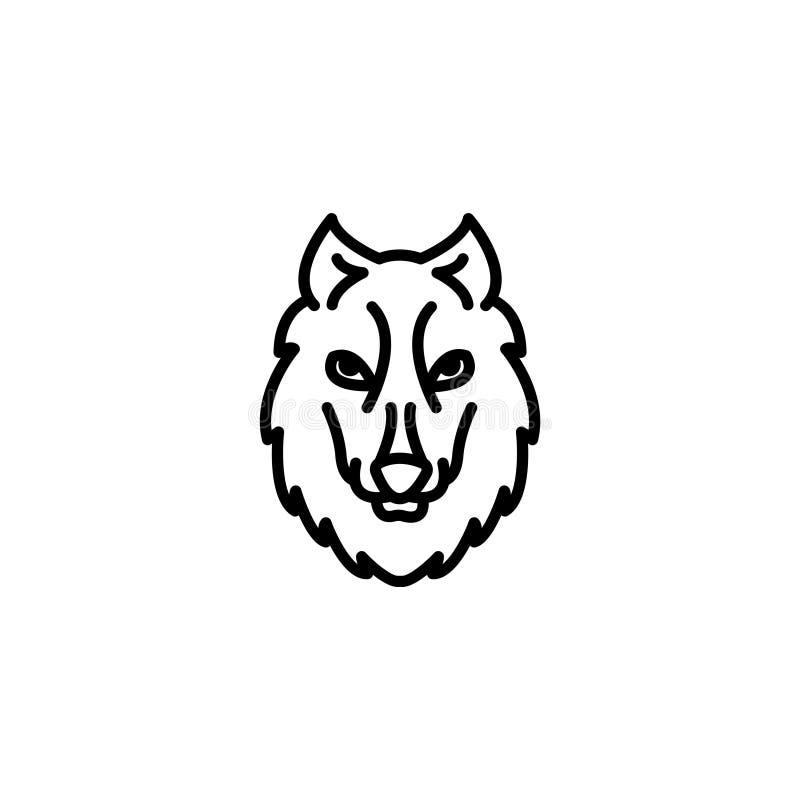 Lijnpictogram Wolf; wilde dieren vector illustratie