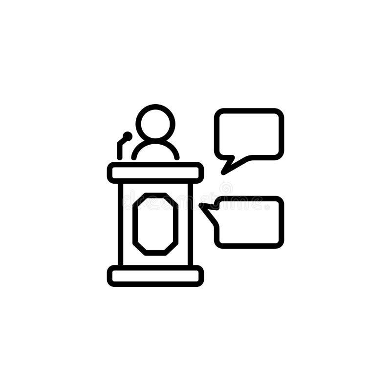 Lijnpictogram Zaken; Spreker, woordvoerder die van tribune spreken vector illustratie