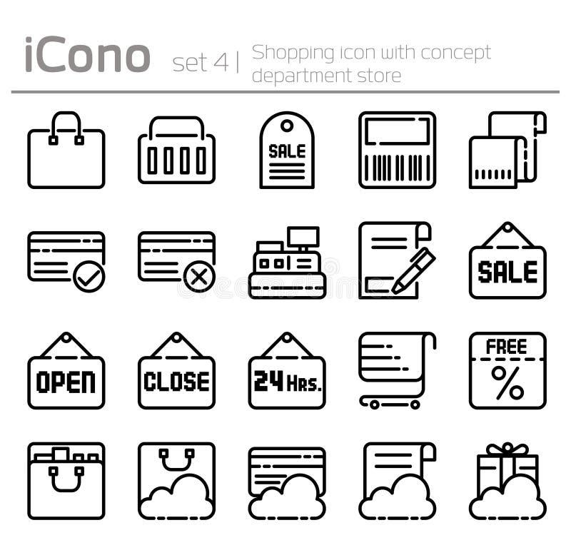 Lijnpictogrammen die in vlak ontwerp het winkelen pictogram met conceptenwarenhuis worden geplaatst vector illustratie