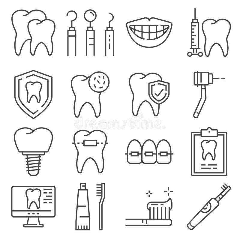 Lijnpictogrammen van de tandzorg en tandartsdiensten stock afbeeldingen