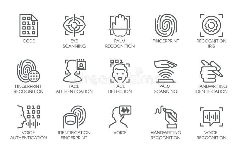 Lijnpictogrammen van identiteits biometrische controle royalty-vrije illustratie