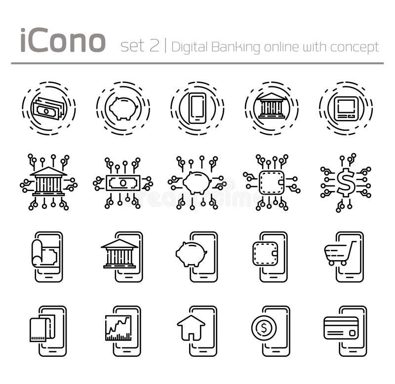 Lijnpictogrammen in vlak ontwerp digitaal bankwezen online worden geplaatst met concept dat vector illustratie