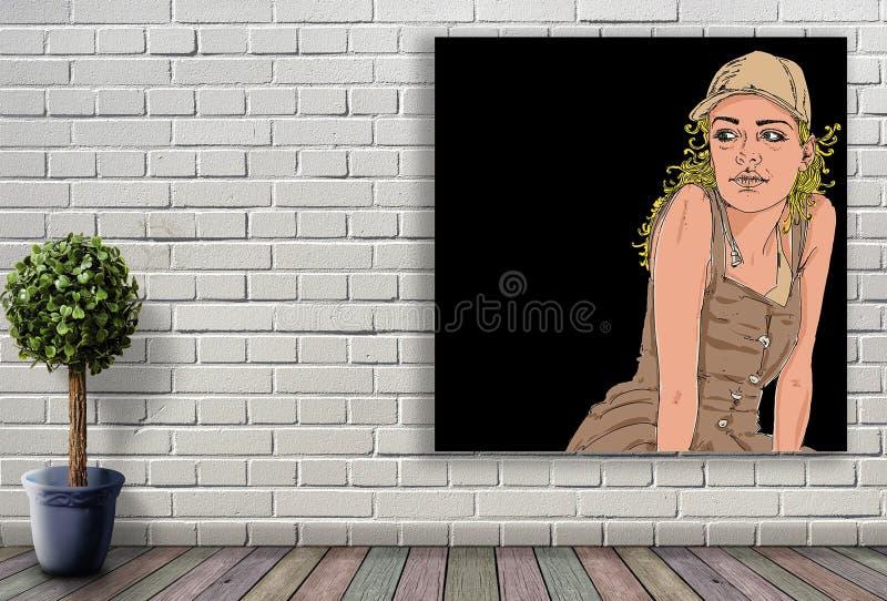 Lijnportret van vrouw het hangen op bakstenen muur stock foto