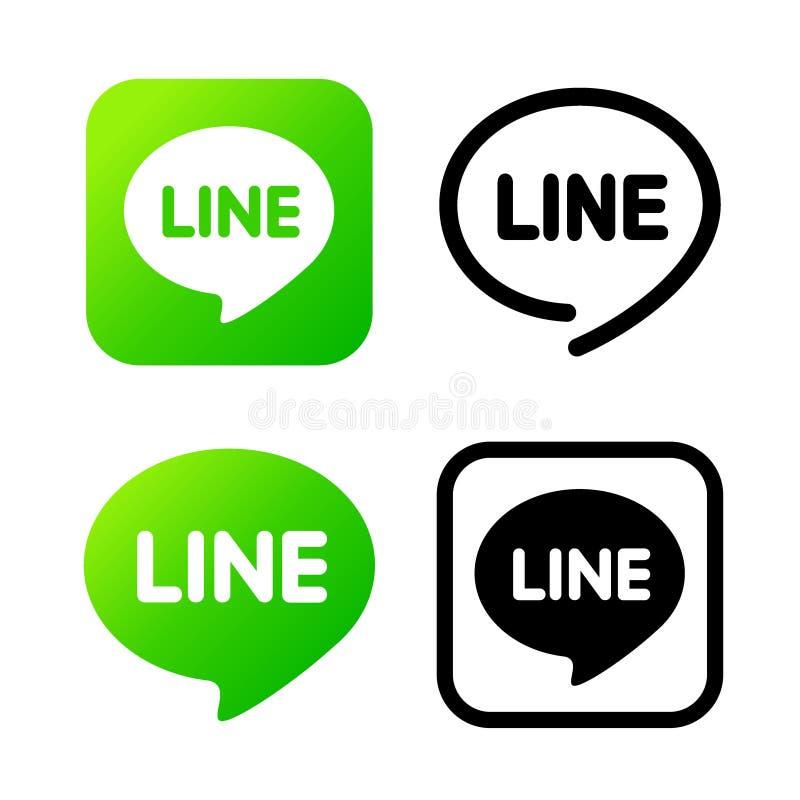 Lijnteken, groen praatjesymbool De commentarenkleur van het Webpictogram De Vectorillustratie van het boodschapperspictogram stock illustratie