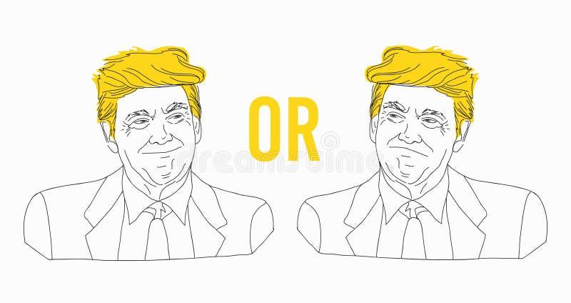 Lijntekening van Donald Trump-portret, schets, tinlijn, blij en droevig Vector illustratie, die op een wit wordt geïsoleerdr stock illustratie