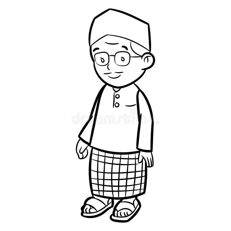 Lijntekening van Volwassen Maleisisch Mensenbeeldverhaal - Karaktervector royalty-vrije illustratie