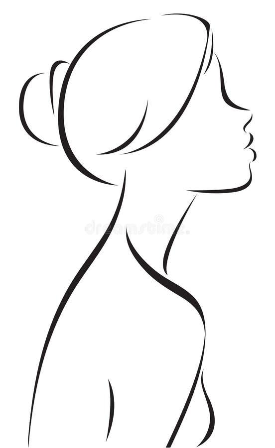 Lijntekening van vrouwenprofiel vector illustratie - Dessin profil ...