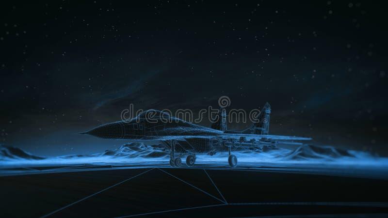 Lijnvliegtuig op de baan in de bergen De hemel van de nacht Het overgangs wireframe hologram aan photorealistic geeft terug royalty-vrije illustratie