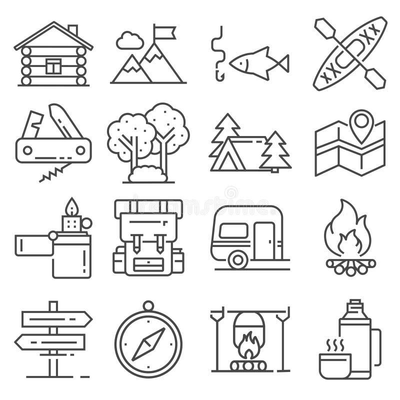Lijnvrije tijd en openlucht het pictogramreeks van recreatieactiviteiten stock foto