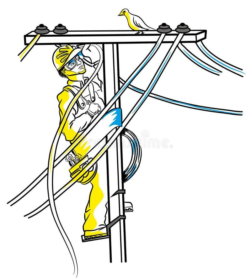 Lijnwachter op de elektrische pool stock illustratie