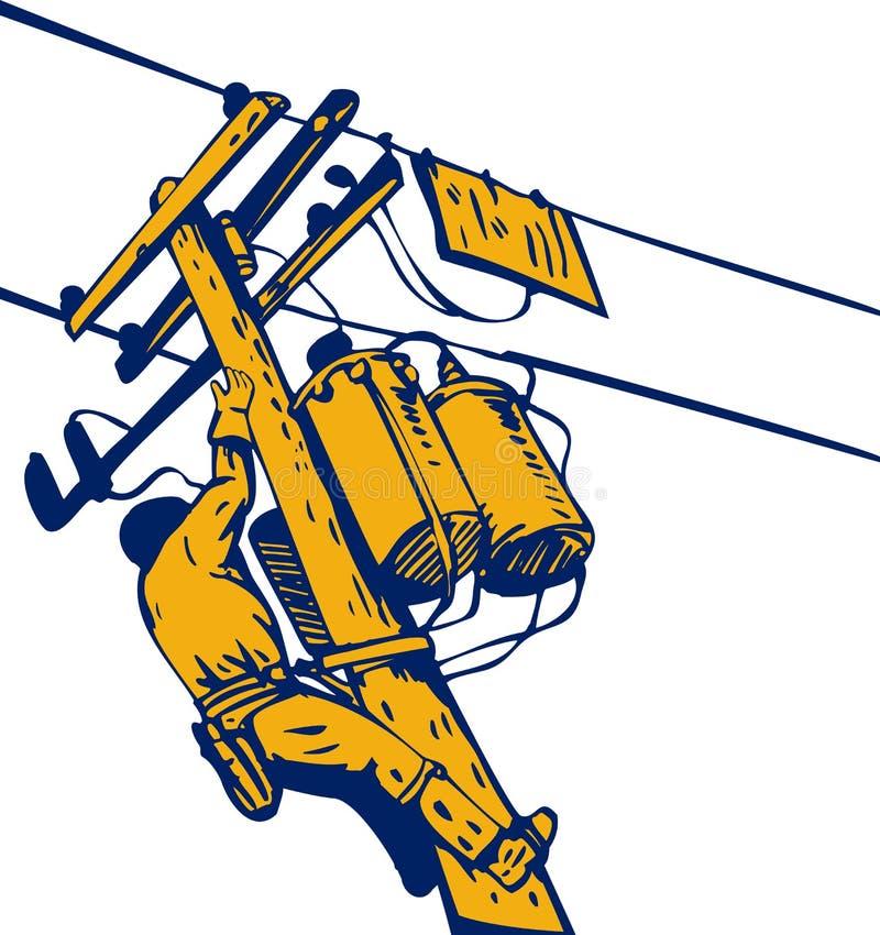 Lijnwachter op het werk vector illustratie