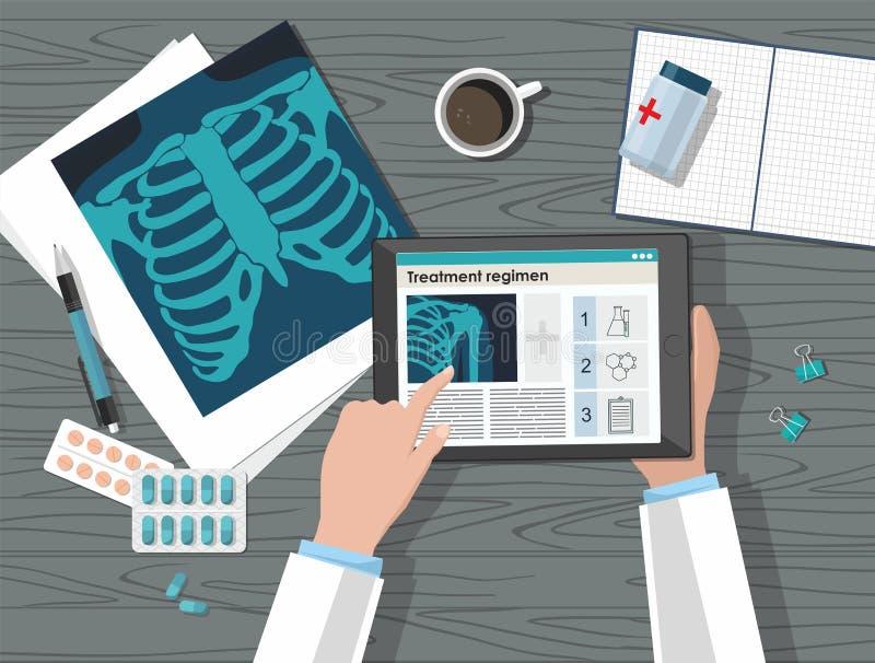 Lijst arts werkplaats Medische apparatuur op houten lijst Mening van hierboven vlak vector illustratie