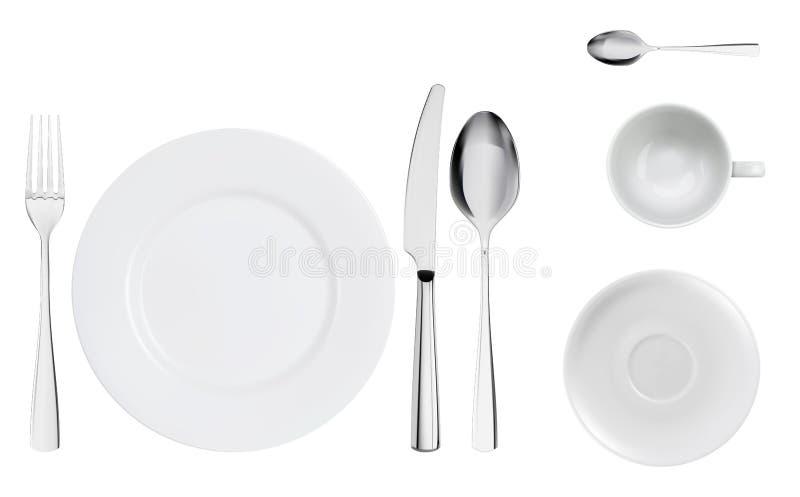 Lijst die realistische hoogste mening met het moderne bestek vastgestelde dienen plaatsen Realistische lepel, vork, messen en sch stock foto's