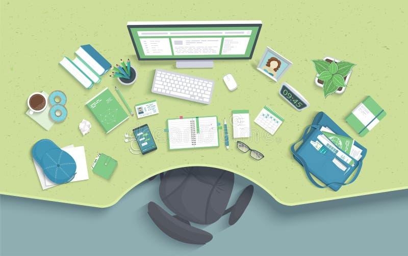 Lijst met reces, stoel, monitor, boeken, notitieboekje, hoofdtelefoons, telefoon Moderne en modieuze werkplaats Vector royalty-vrije illustratie