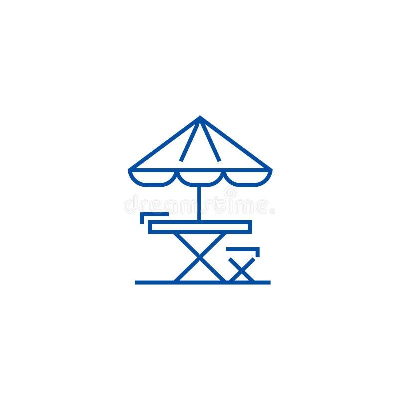 Lijst, stoel en zon het pictogramconcept van de paraplulijn Lijst, stoel en zonparaplu vlak vectorsymbool, teken, overzicht stock illustratie