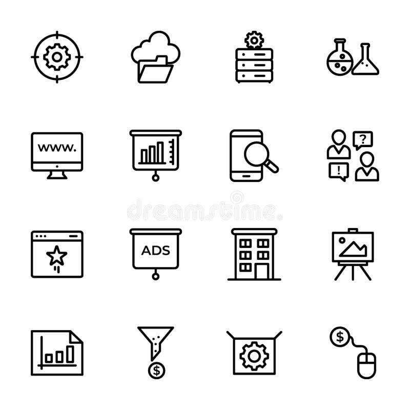 Lijst van de Lijnpictogrammen van Seo en van het Web vector illustratie