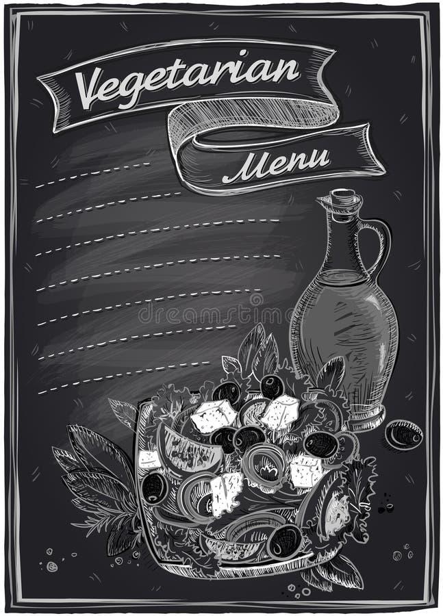 Lijst van het bord de vegetarische menu royalty-vrije illustratie