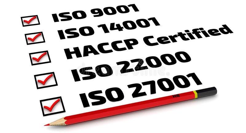 Lijst van ISO-normen vector illustratie