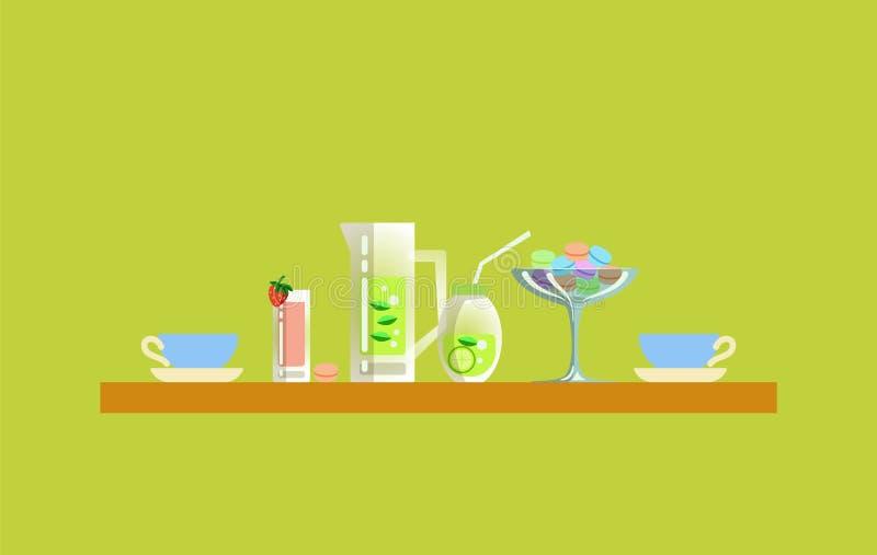 Lijst van Restaurant, Smoothie en Mojito in Kruik stock illustratie