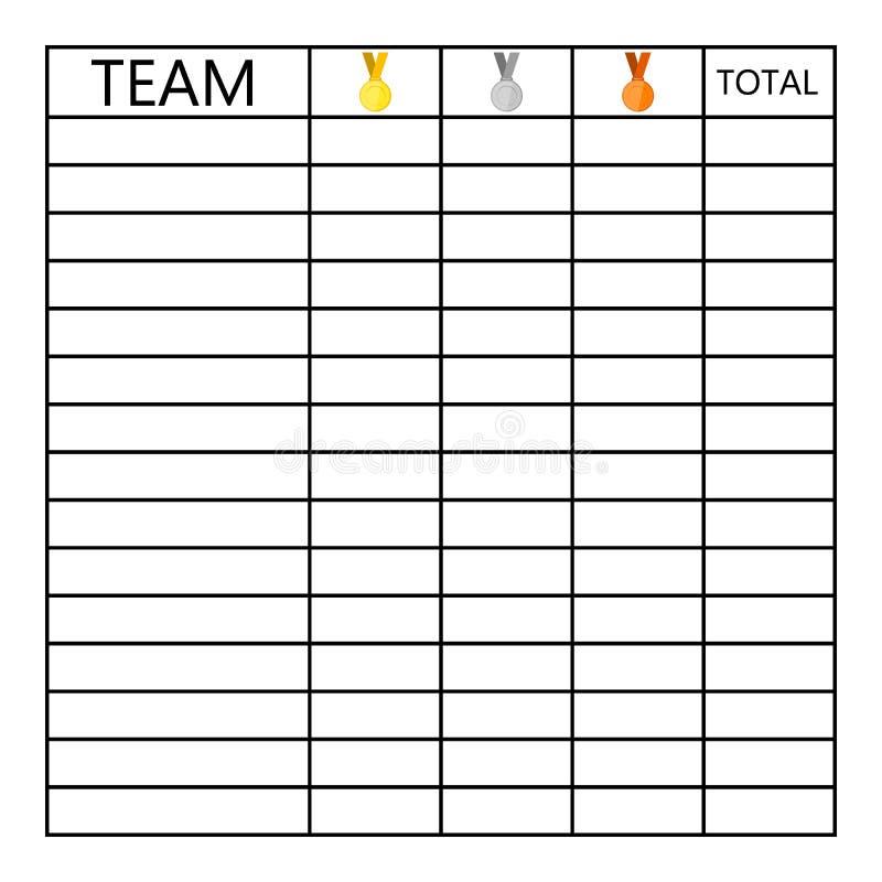 Lijst van tests van medailles in competities vector illustratie