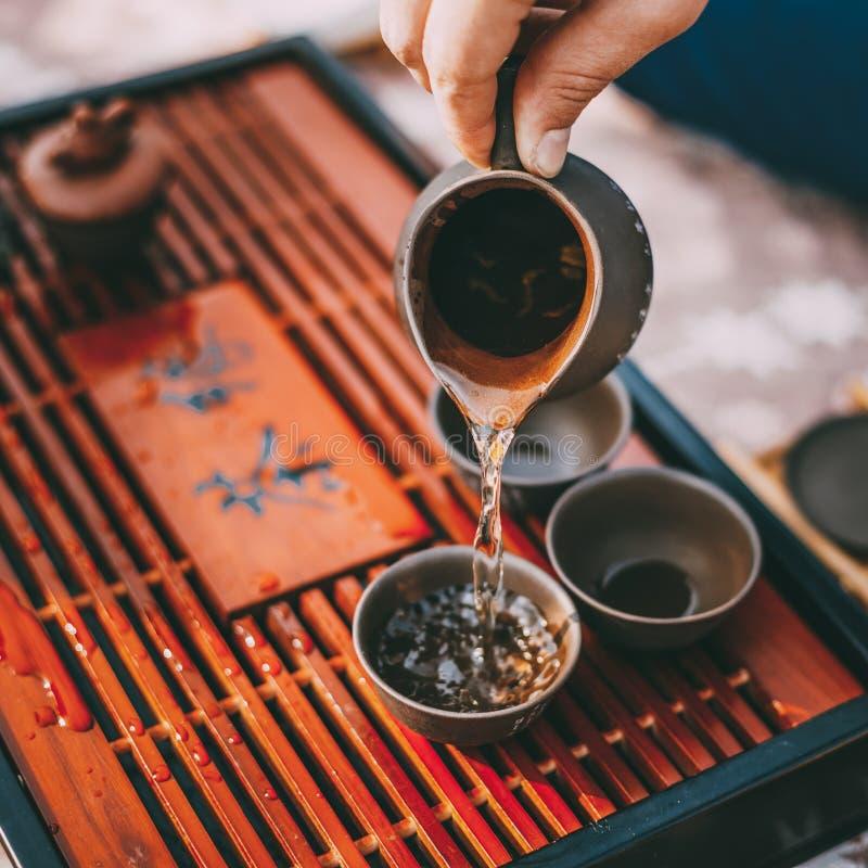 Lijst voor de Traditionele Werktuigen van de Theeceremonie, Chinees Theekopje stock afbeelding